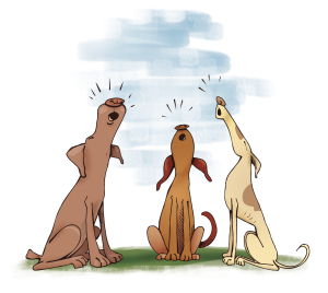 Humorous illustration of three howling dogs