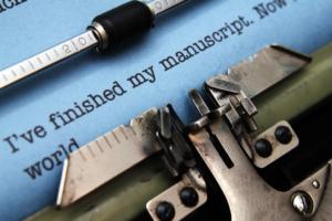 Manuscript on typewriter machine